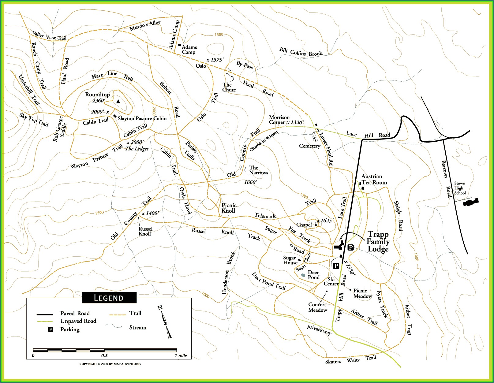 Stowe Vermont Trail Map