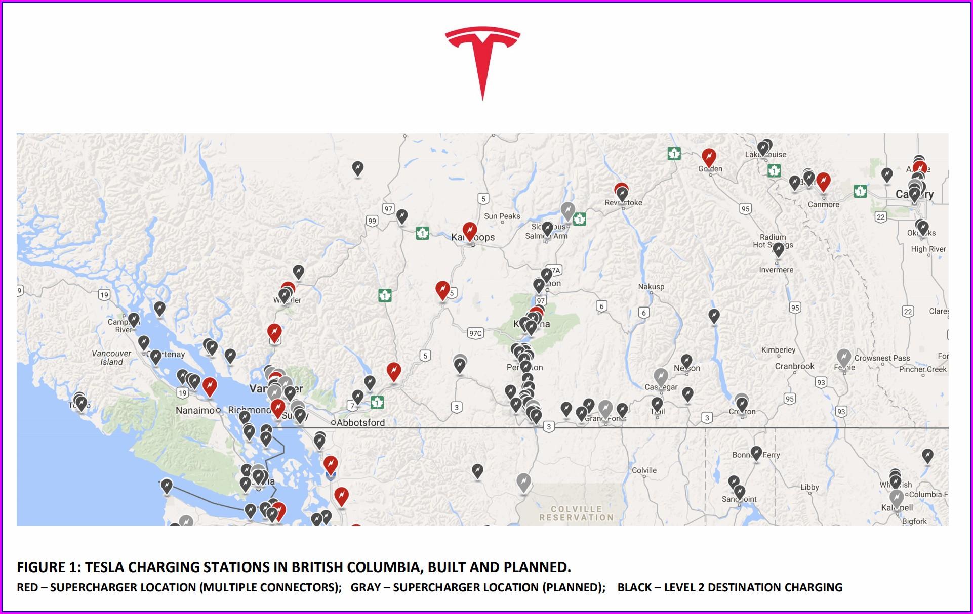 Supercharger Tesla Tesla Charging Stations Map