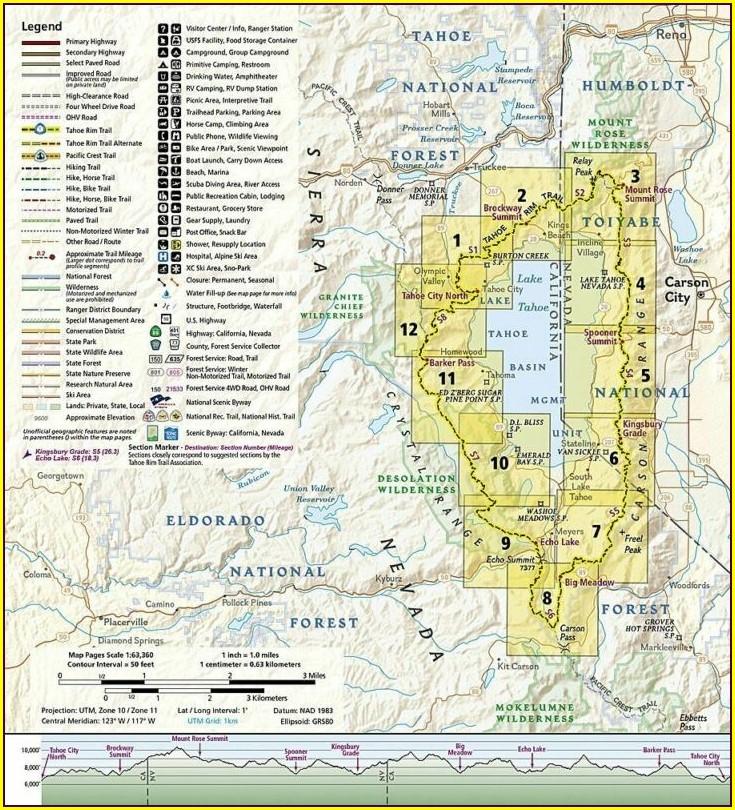 Tahoe Rim Trail Topo Map