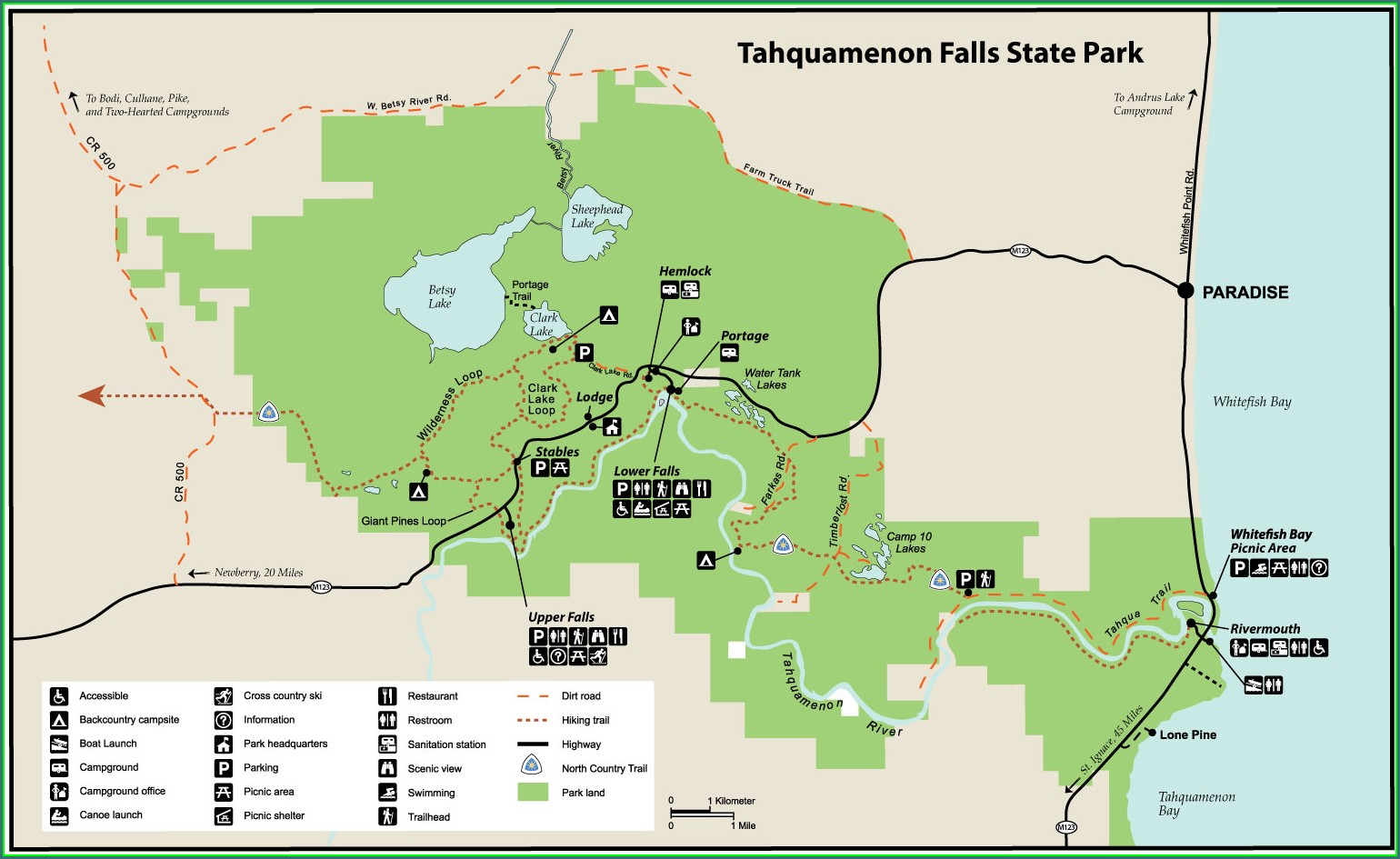 Tahquamenon Falls State Park Campground Map