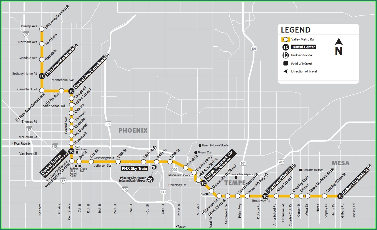 Tempe Light Rail Map