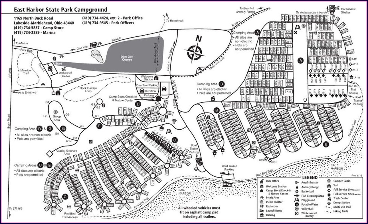 Tent Camping East Harbor State Park Campground Map