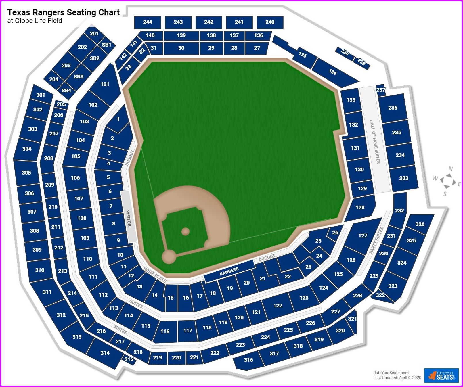 Texas Rangers Stadium Seat Map