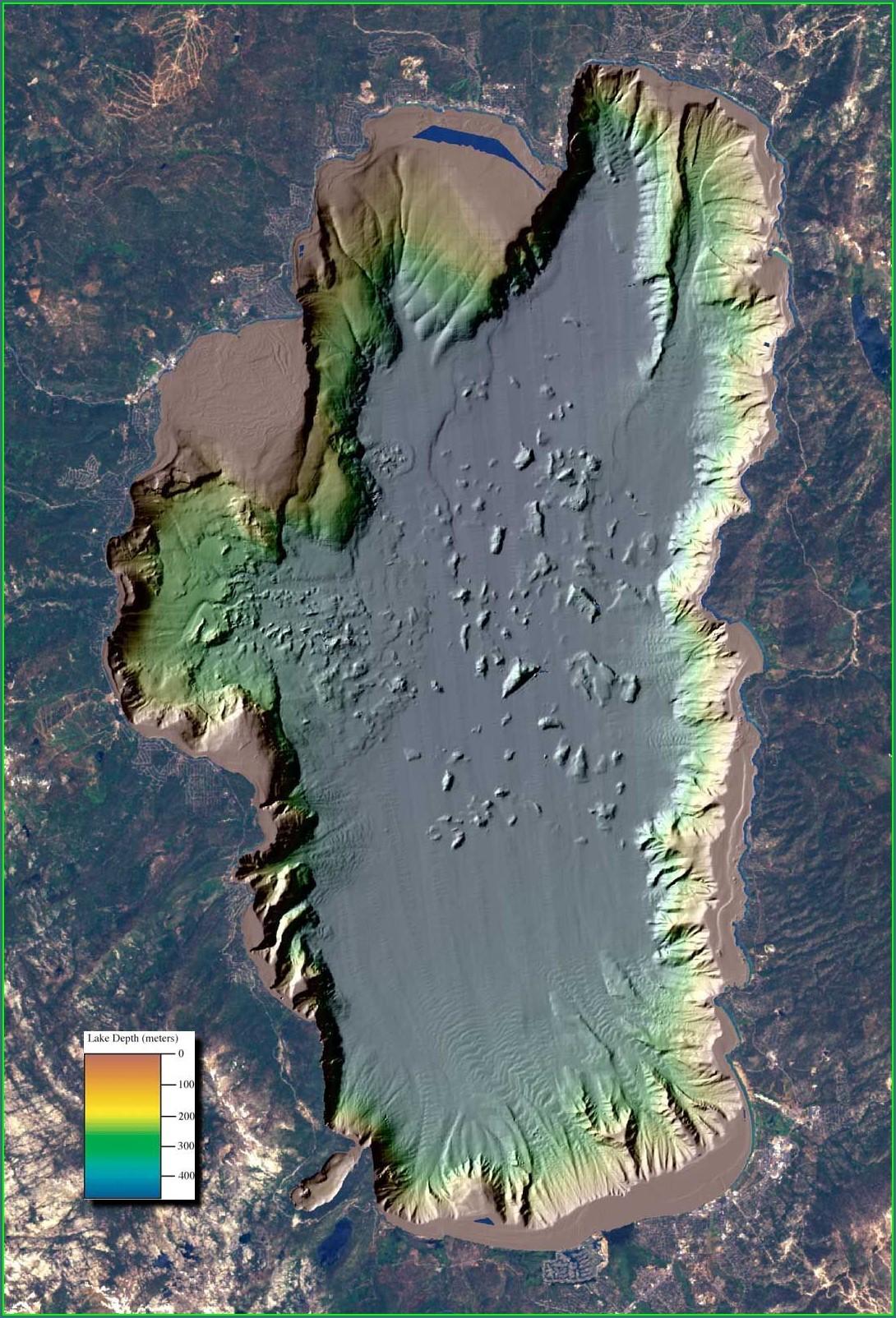 Topographic Lake Tahoe Depth Map