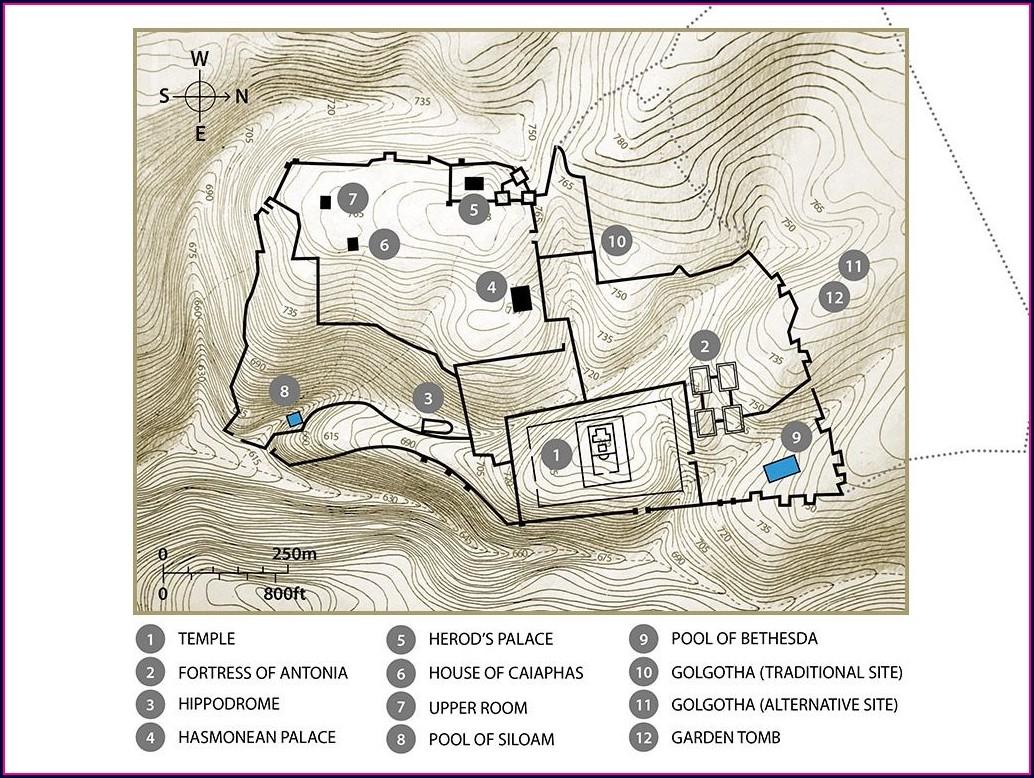 Topographic Map Of Jerusalem Area