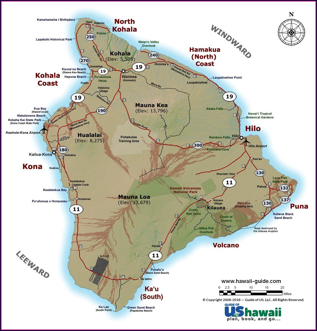 Topographical Map Of Hawaii Big Island