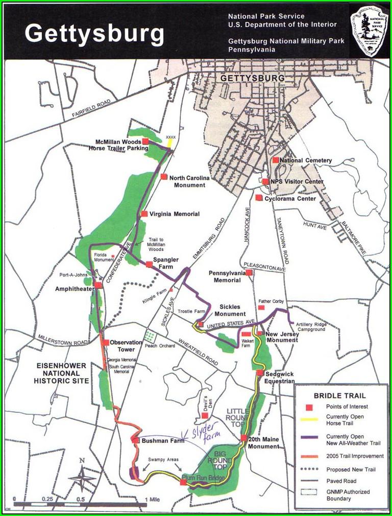 Touring Gettysburg Battlefield Map