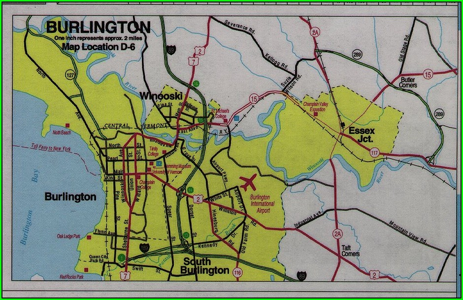 Tourist Map Of Burlington Vt