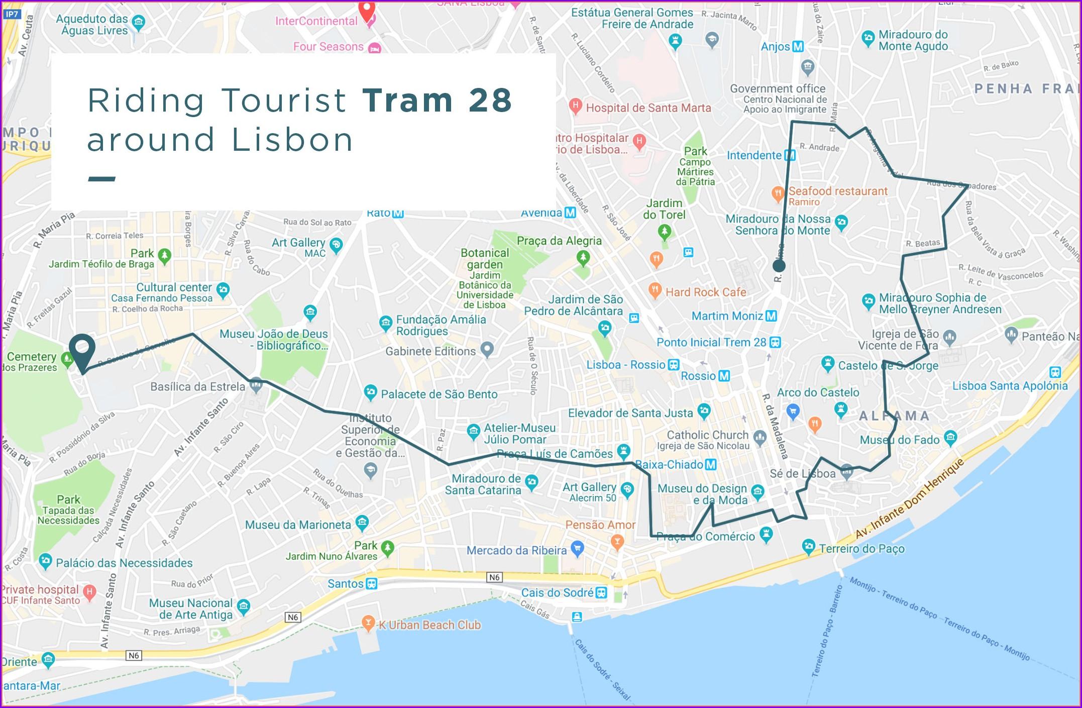 Tram 28 Lisbon Route Stops Map