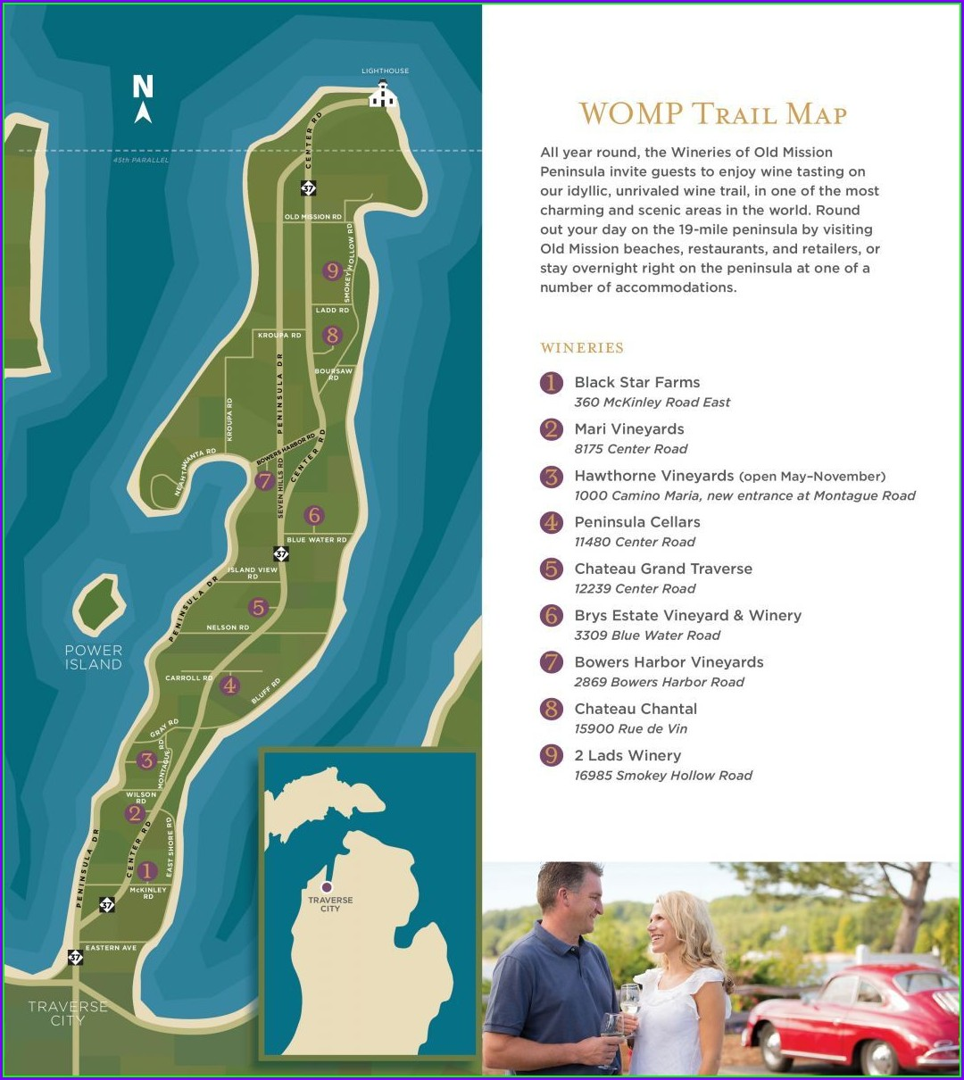 Traverse City Wineries Map Old Mission Peninsula