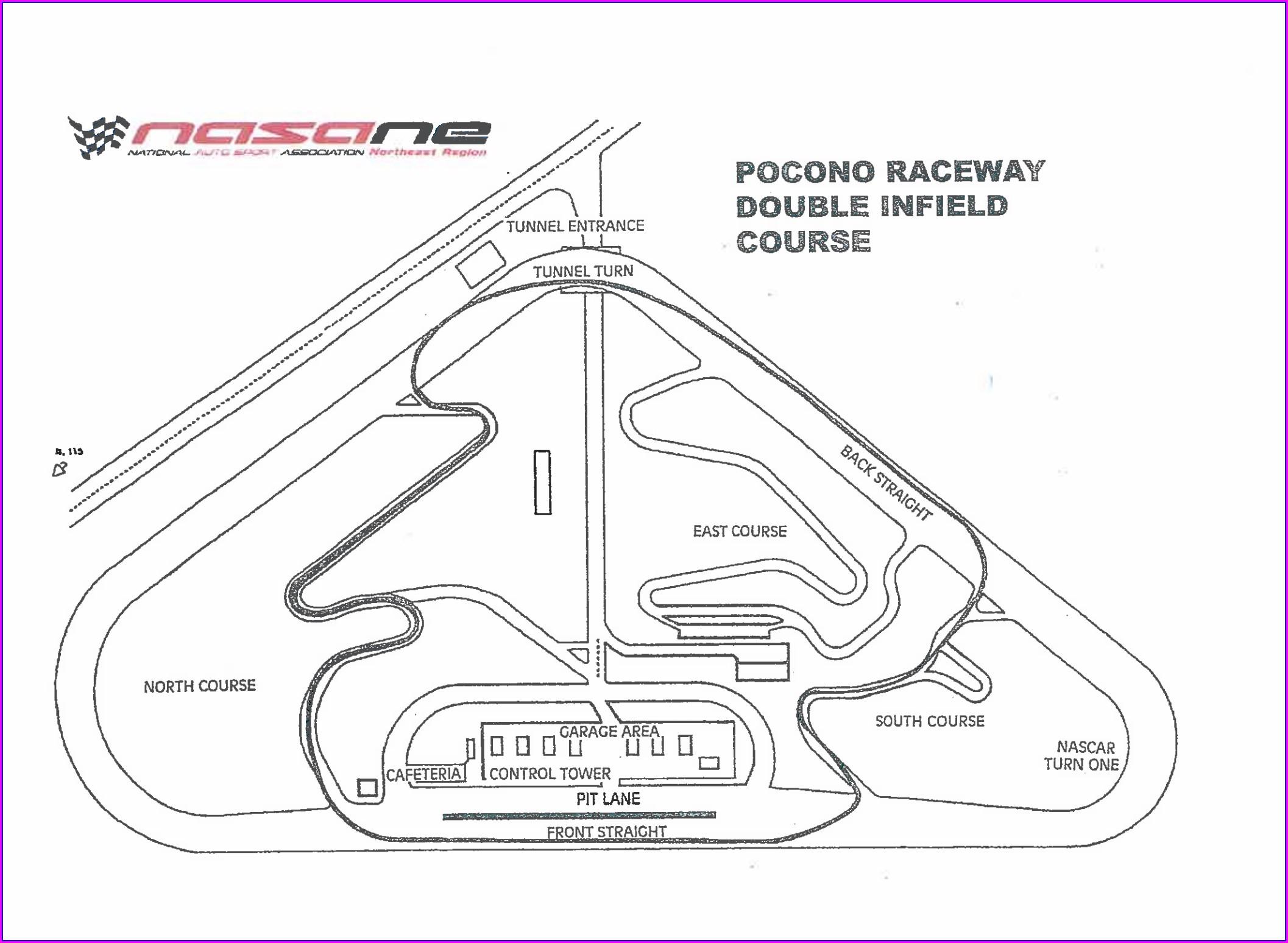 Tricky Triangle Pocono Raceway Track Map