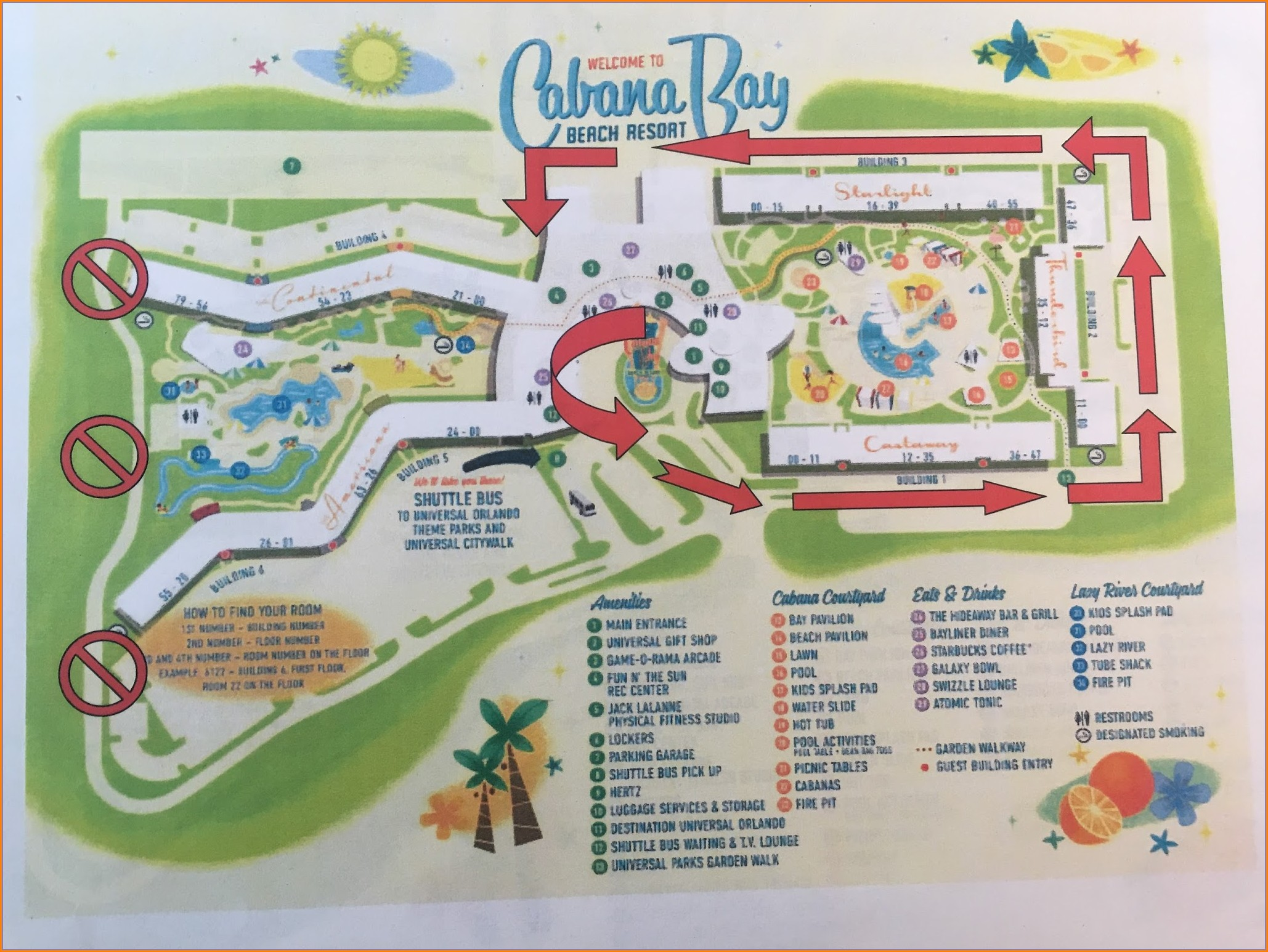 Universal Studios Cabana Bay Beach Resort Map