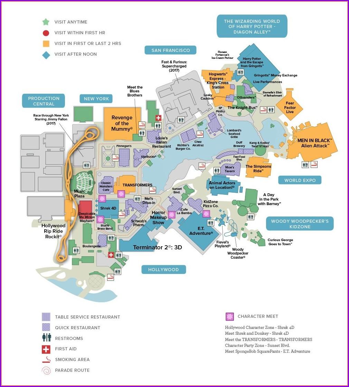 Universal Studios Florida Park Map 2020