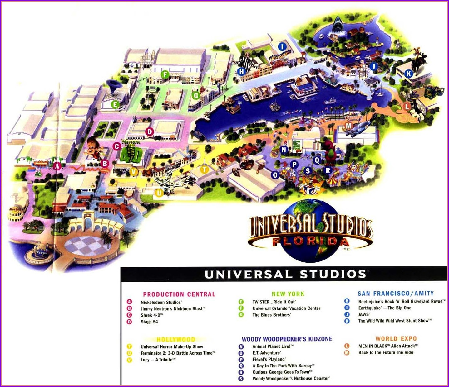 Universal Studios Florida Theme Park Map