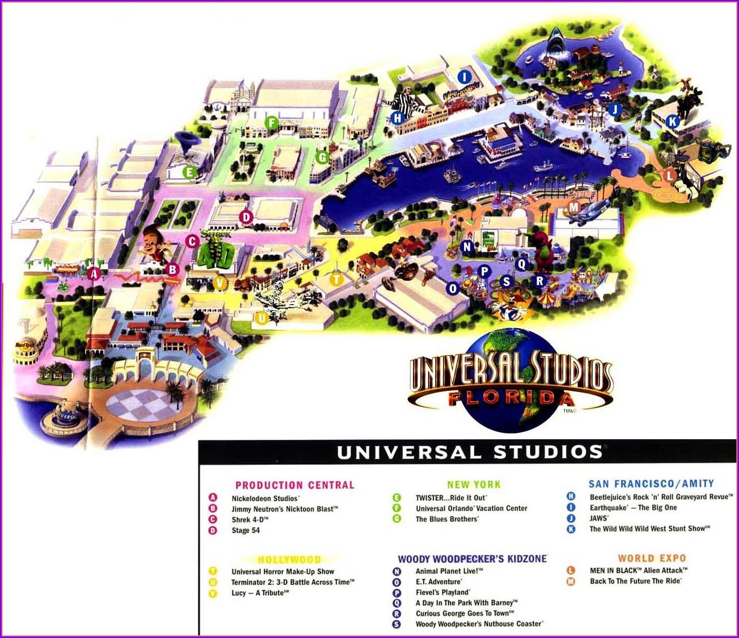 Universal Studios Florida Theme Park Map
