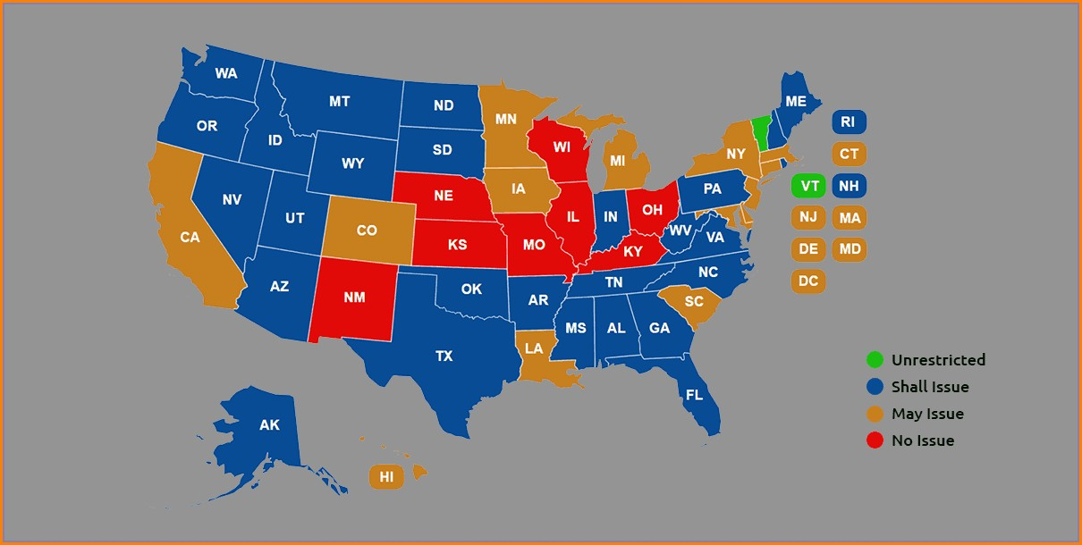 Utah Concealed Carry Permit Reciprocity Map