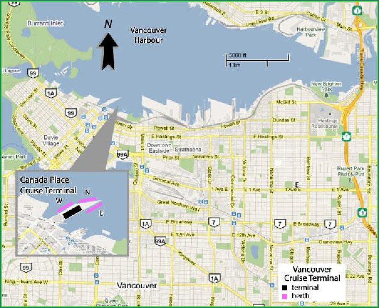 Vancouver Cruise Ship Terminal Map