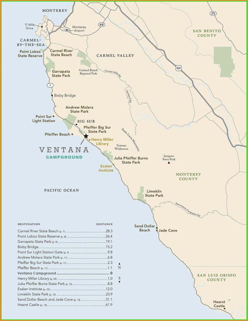 Ventana Big Sur Campground Map