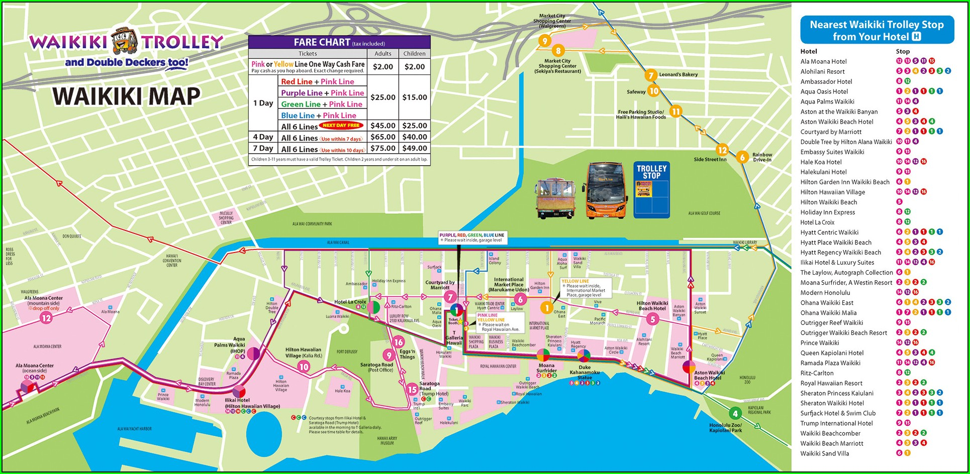 Waikiki Hop On Hop Off Trolley Map