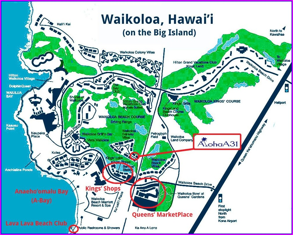 Waikoloa Hawaii Map Big Island