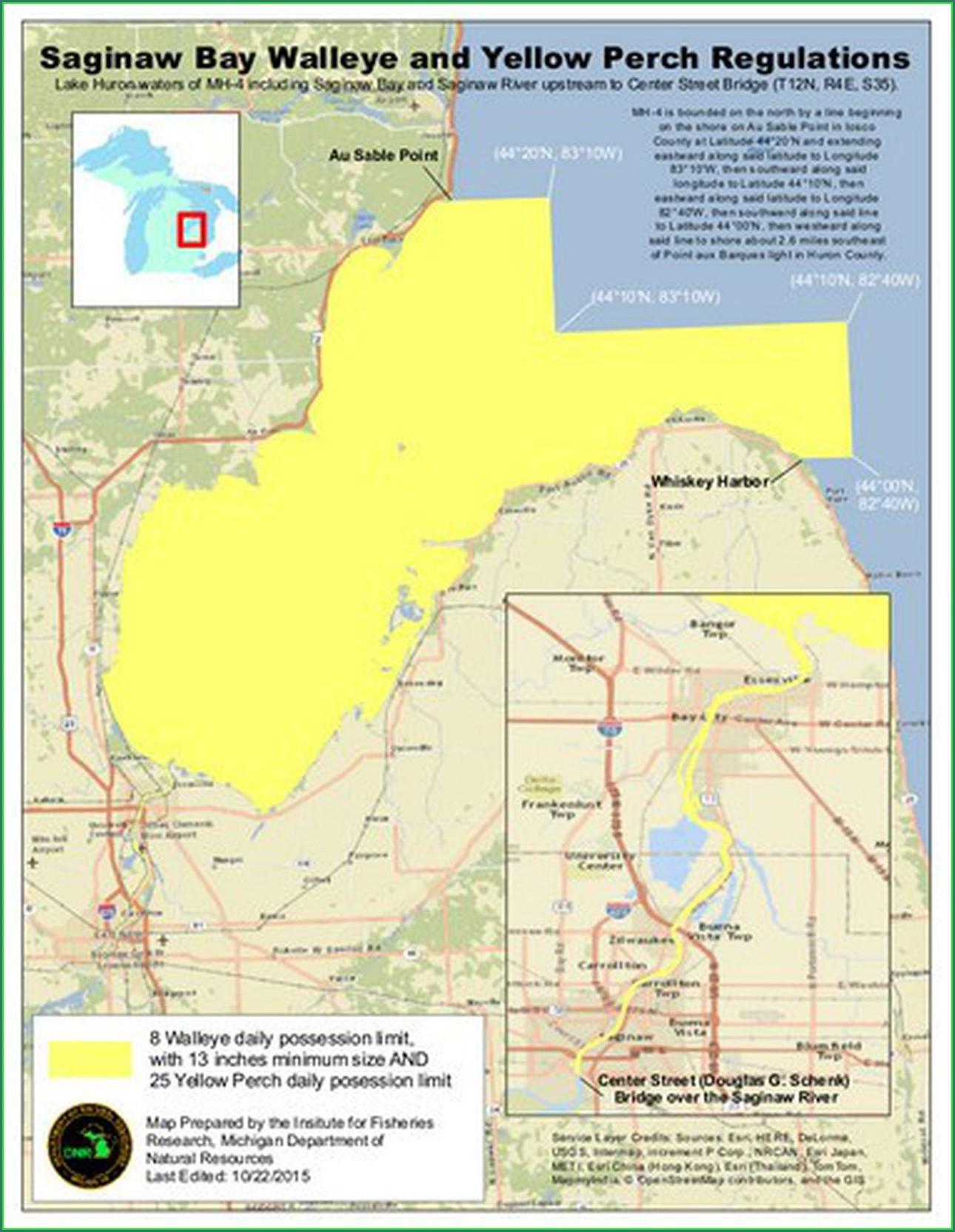 Walleye Saginaw Bay Fishing Map