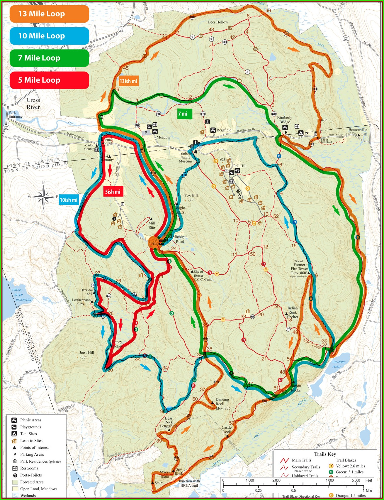 Ward Pound Ridge Hiking Map