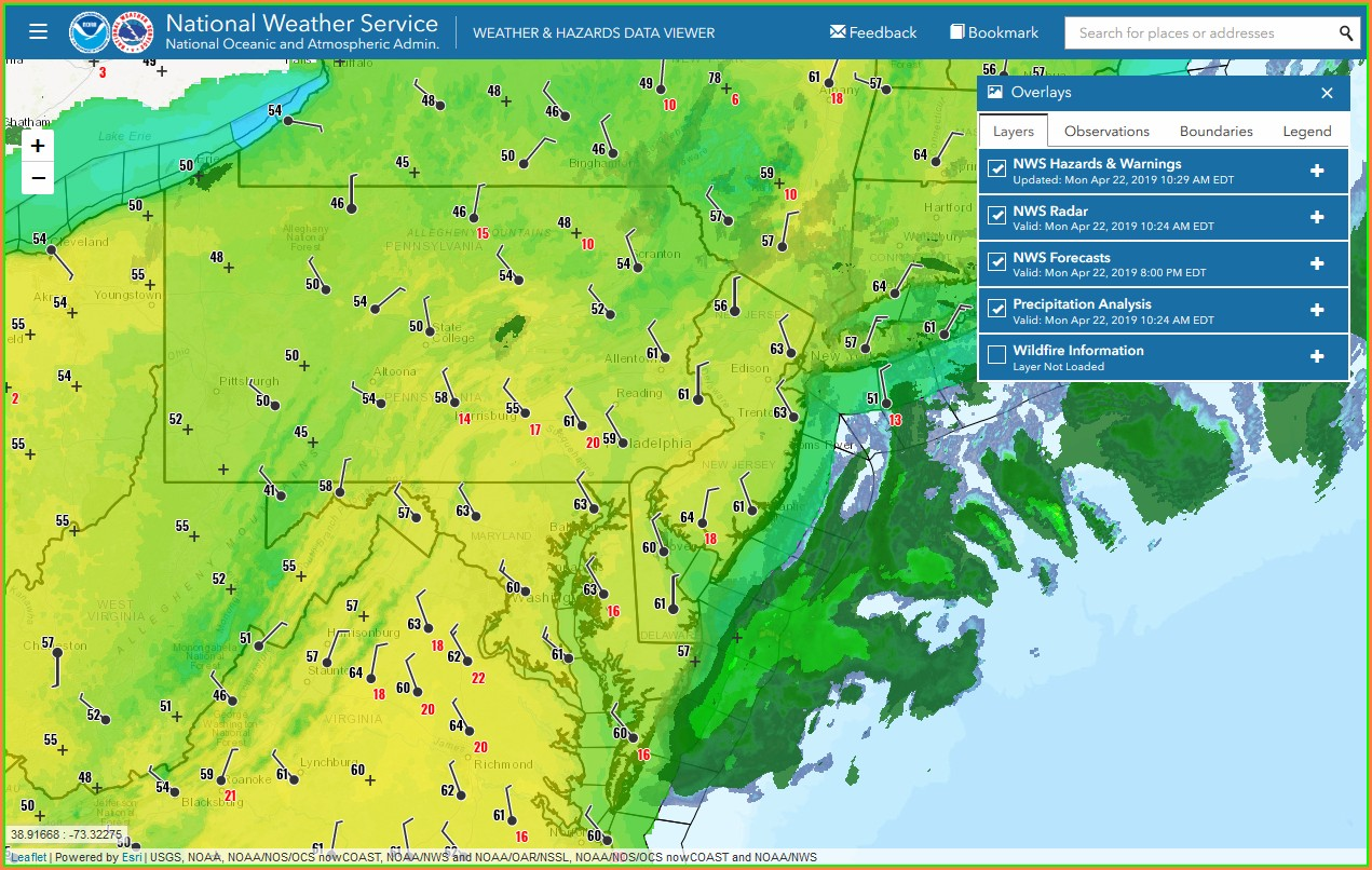Weather Map Philadelphia Area