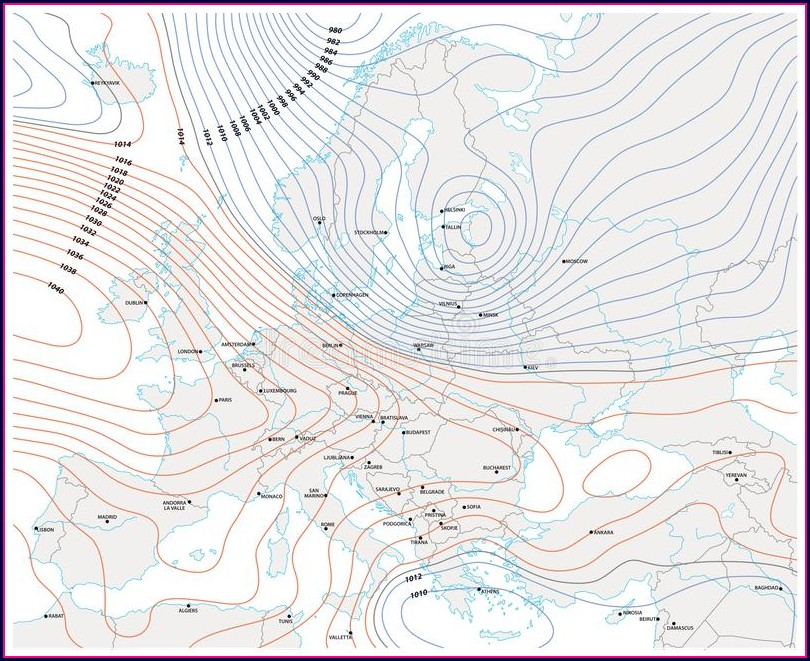 Weather Map With Fronts And Isobars