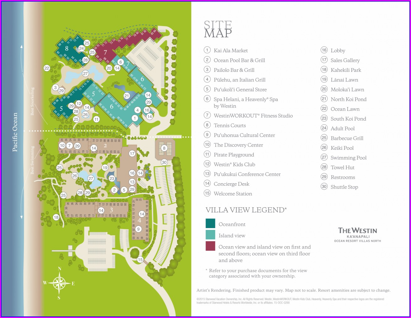 Westin Kaanapali Ocean Resort Villas North Map