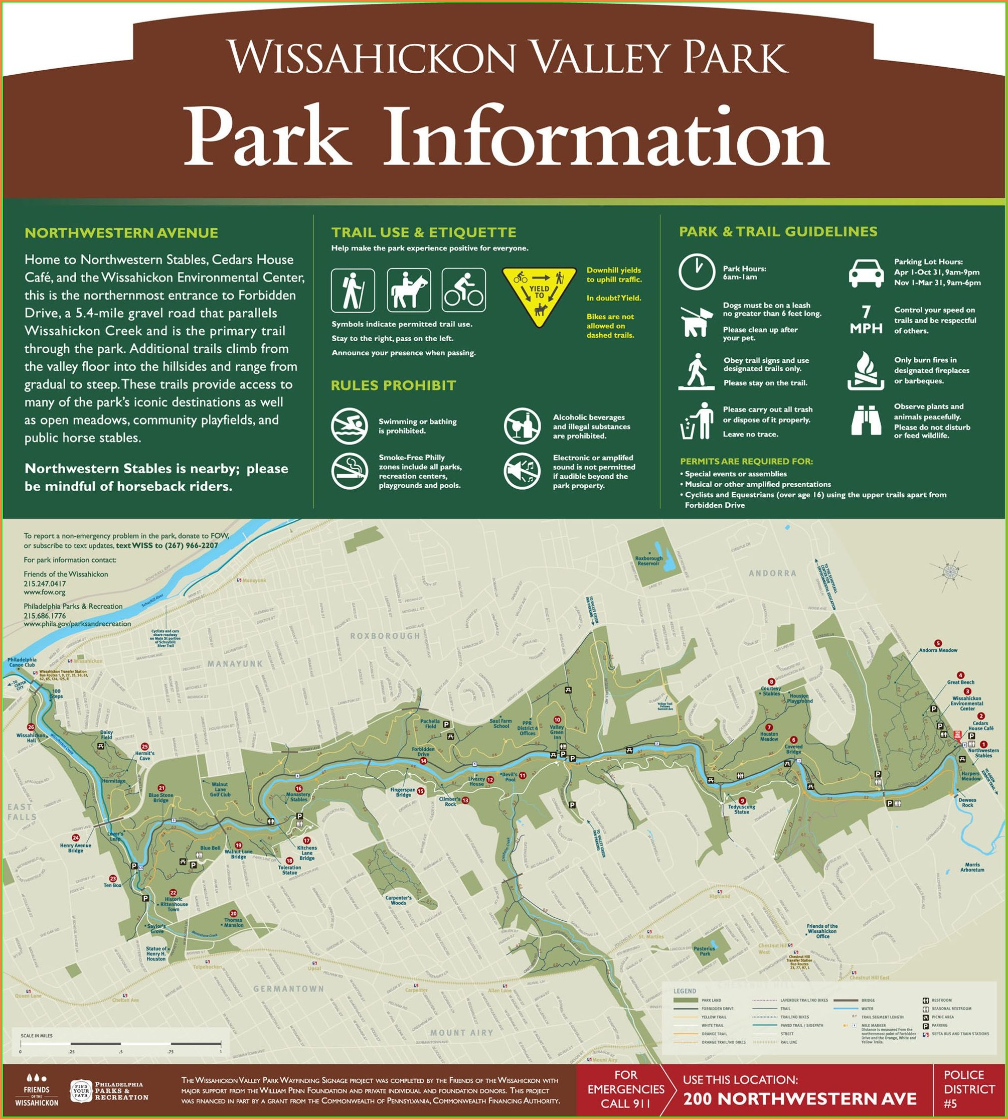 Wissahickon Park Trail Map