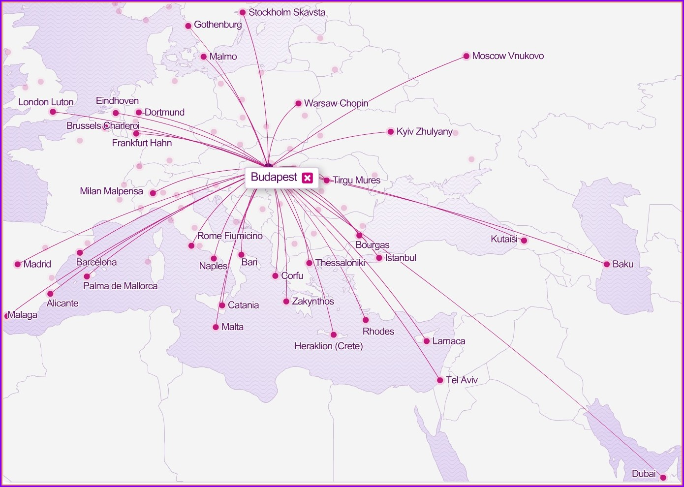 Wizz Air Route Map From Luton