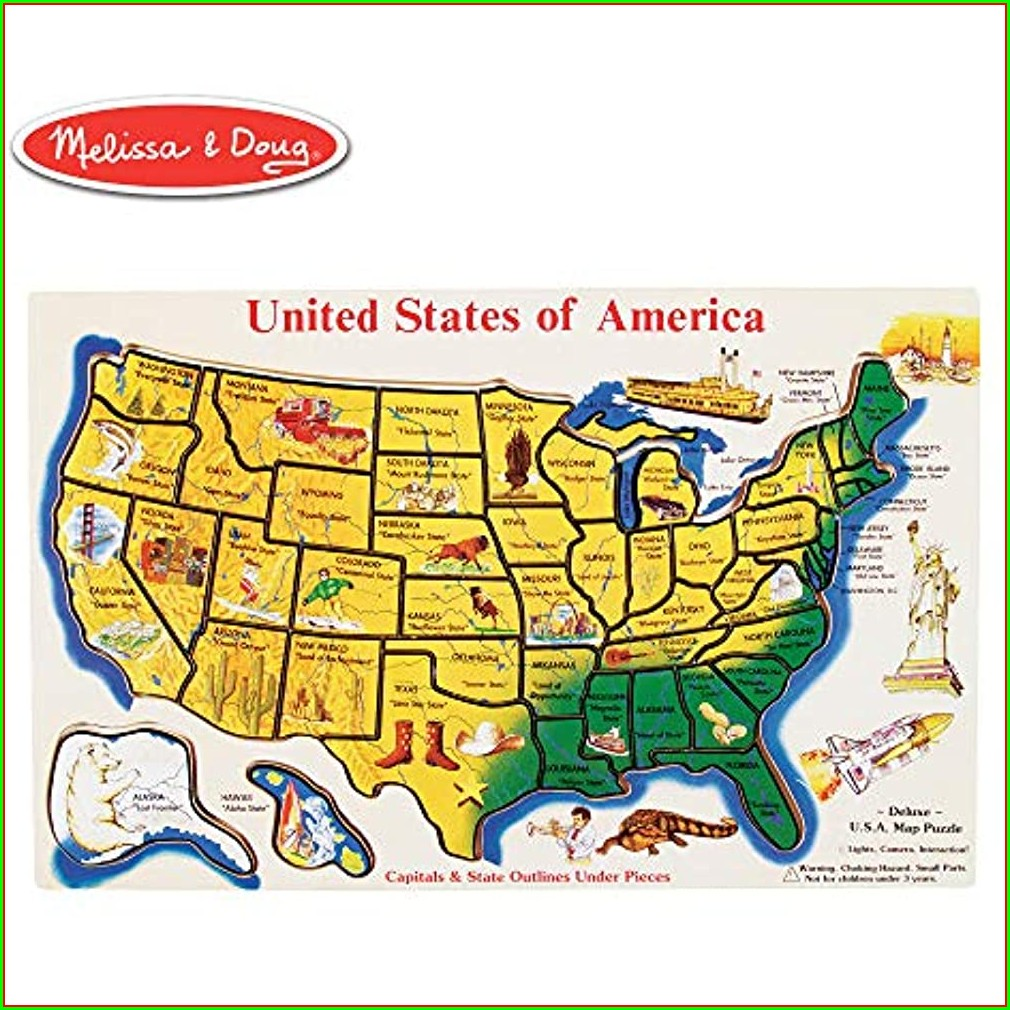 Wooden Usa Map Puzzle With States And Capitals