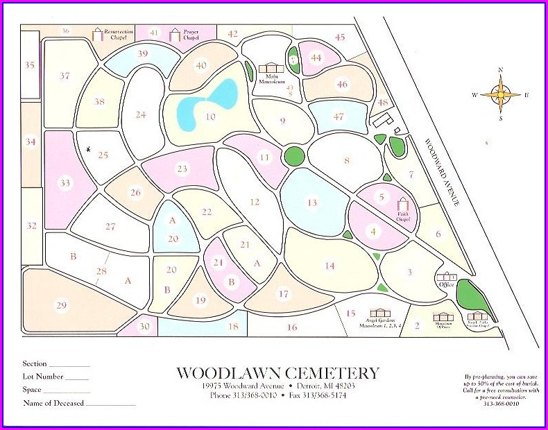 Woodlawn Cemetery Detroit Map