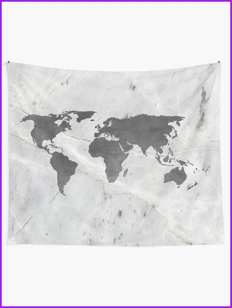 World Map Grey Outline