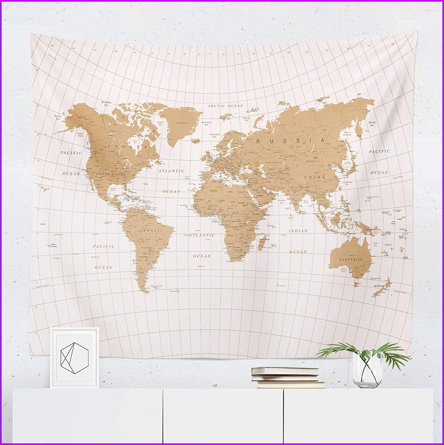 World Map Tapestry Wall Hanging