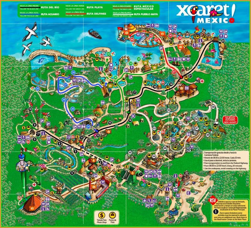 Xcaret Park Map 2019