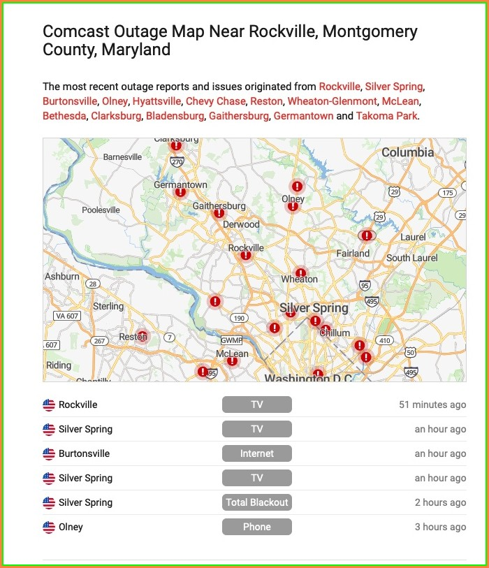 Xfinity Wifi Outage Map Live