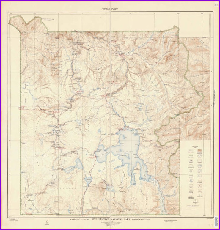 Yellowstone National Park Topographic Map