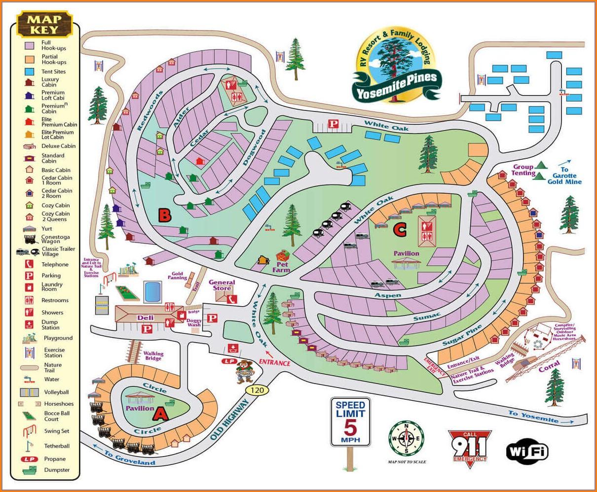 Yosemite Lakes Rv Resort Site Map