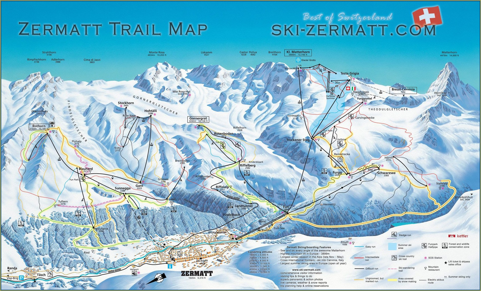 Zermatt Ski Resort Trail Map