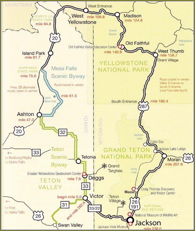42 Mile Scenic Loop Grand Teton Map