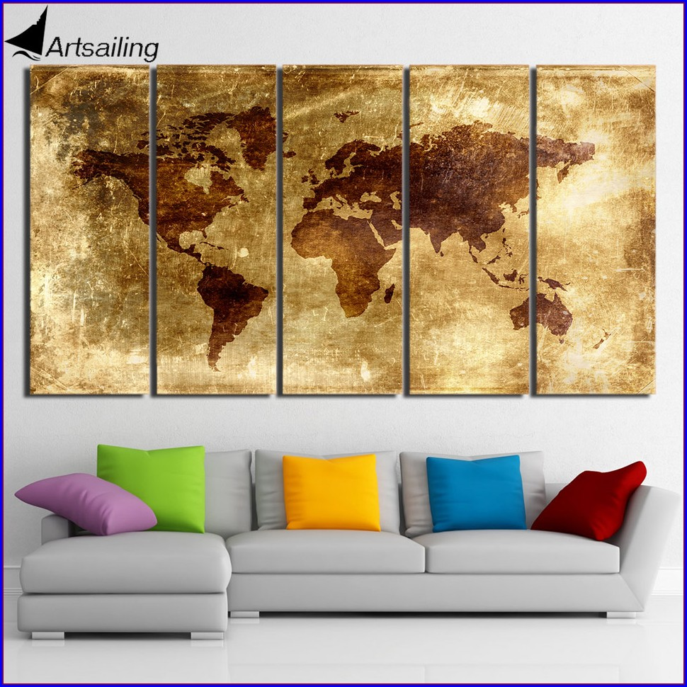 5 Piece Canvas Art World Map
