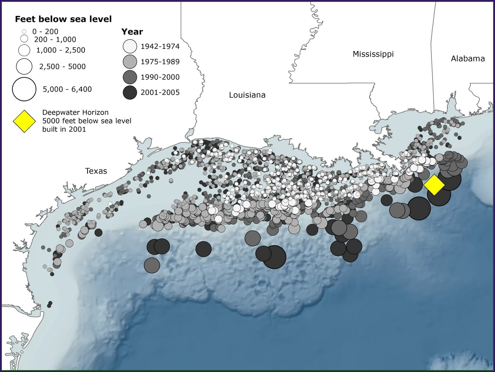 Alabama Offshore Oil Rigs Map
