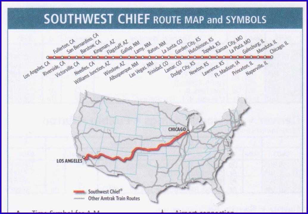 Amtrak Southwest Chief Map