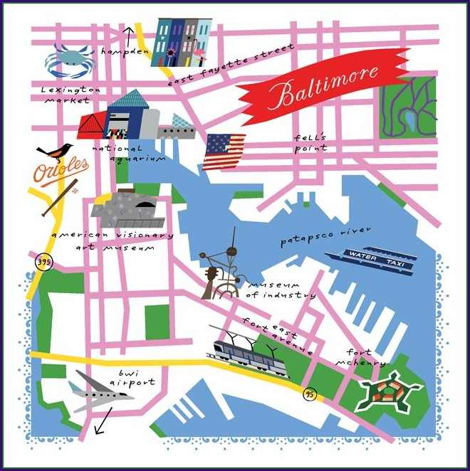 Baltimore Inner Harbor Map Attractions