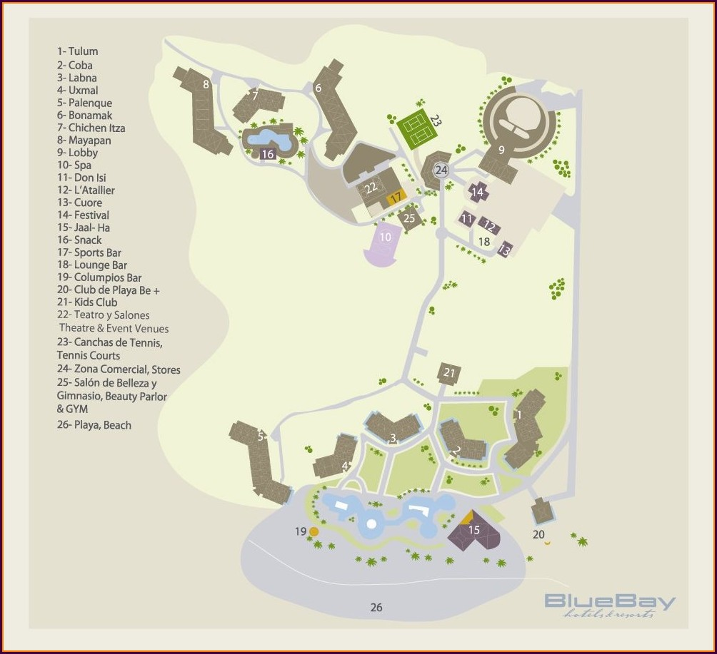 Blue Bay Grand Esmeralda Riviera Maya Map