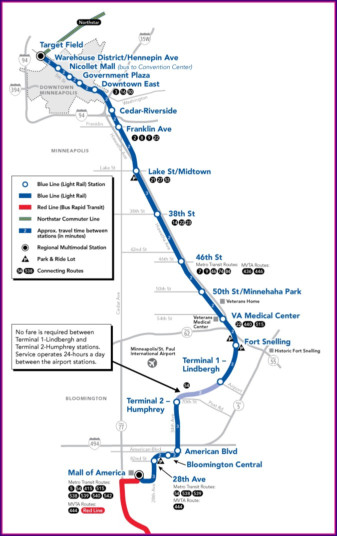 Blue Line Minneapolis Light Rail Map