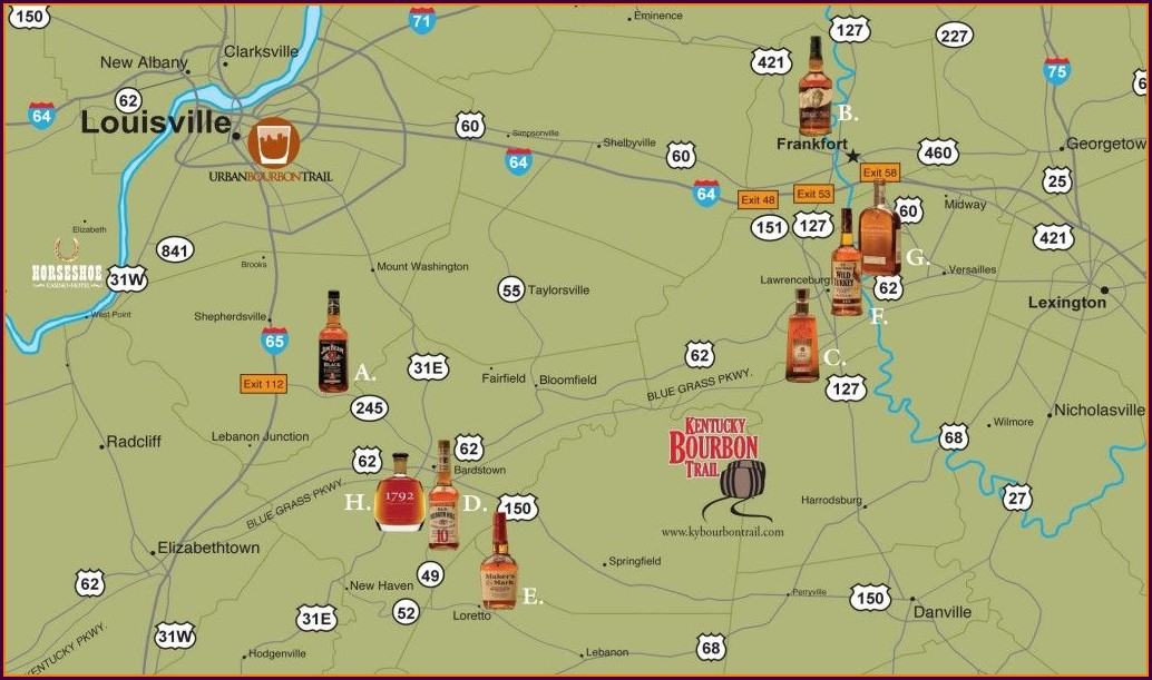 Bourbon Trail In Kentucky Map