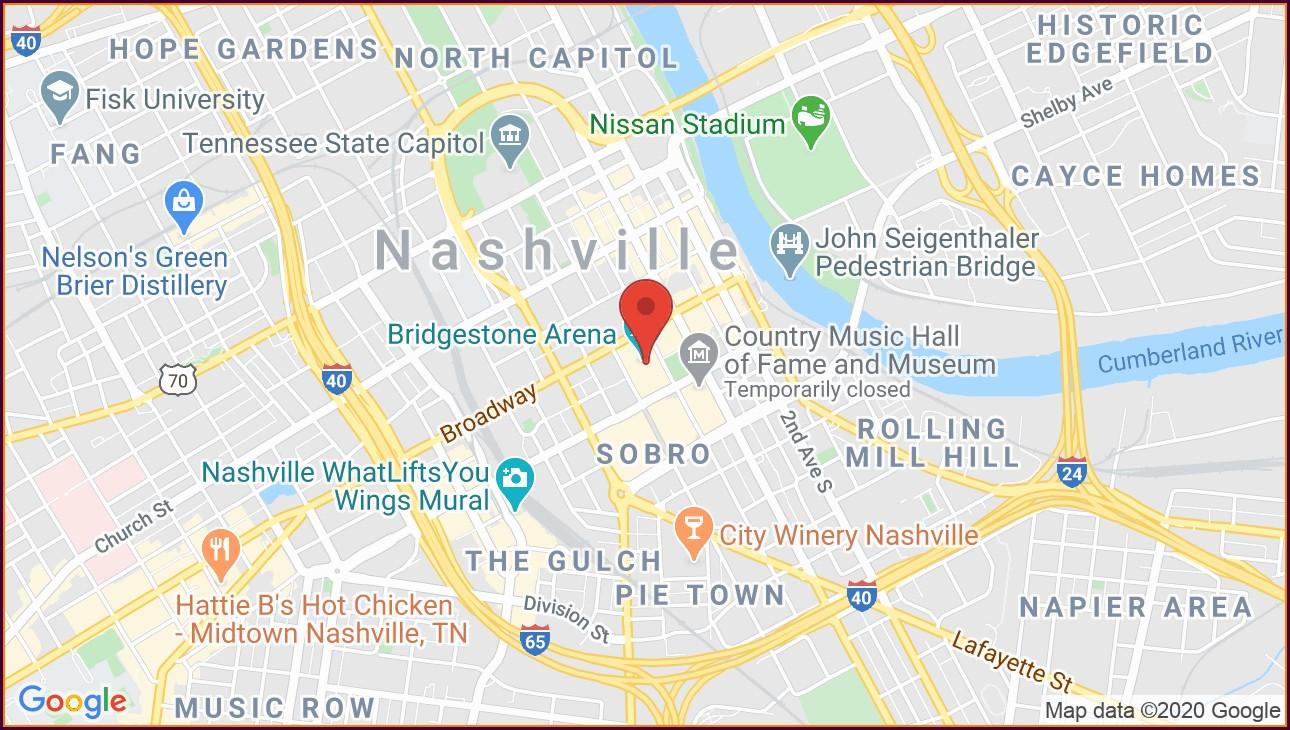 Bridgestone Arena Nashville Map