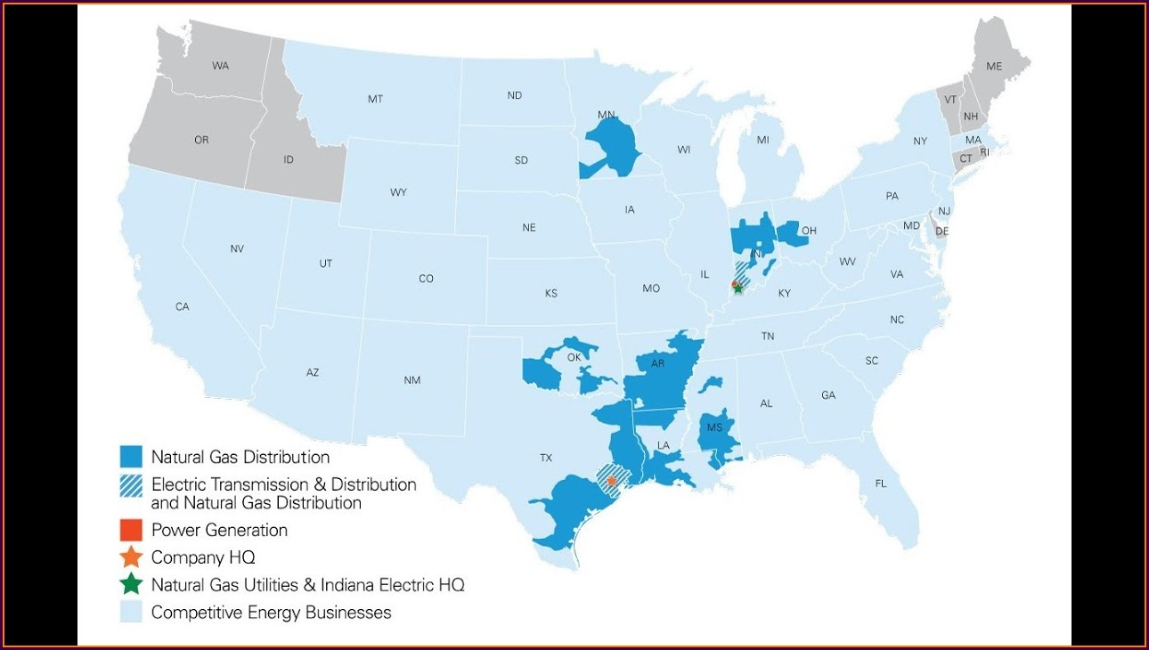 Centerpoint Energy Service Area Map
